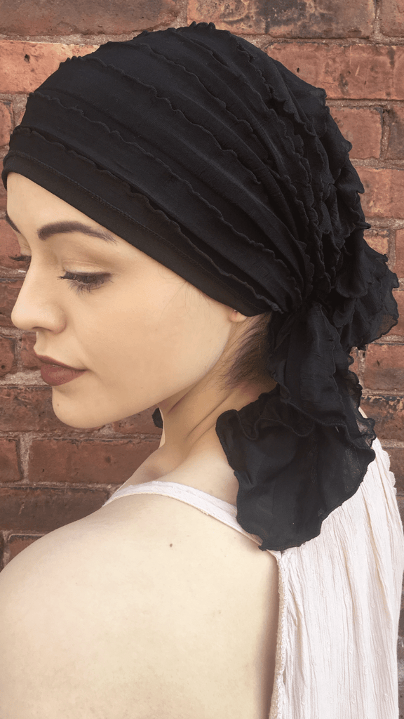 Scrub Cap To Conceal Hair Lightweight Hair Net Ruffle Pre-Tied Head Wrap Scarf To Chill Relax Rest and Wind Down. Made in USA - Uptown Girl Headwear