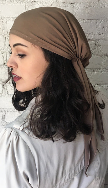 Scrub Cap Hat. Tan Lycra Lightweight Hair Wrap Head Scarf Hijab. Made in USA - Uptown Girl Headwear
