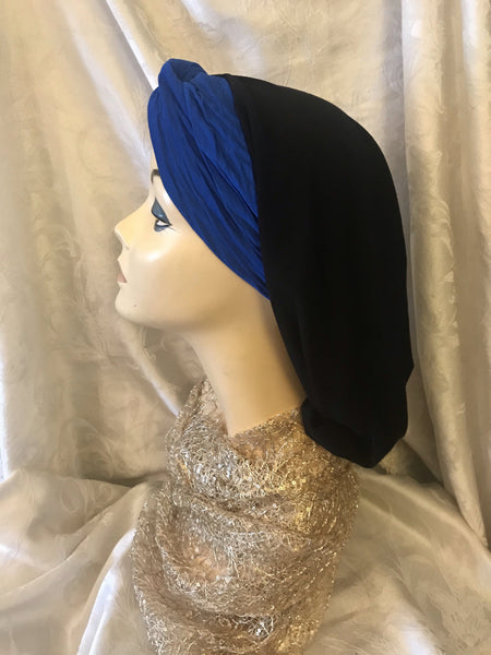 Black & Royal Blue Beautiful Classic Hair Snood Mitpachat Turban Tichel Hijab Headscarf For Women - Uptown Girl Headwear