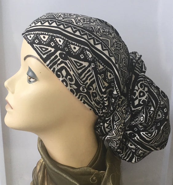 Aztec Pattern Black and White Pre-Tied Hijab Style Hair Wrap Slip On Head Scarf - Uptown Girl Headwear