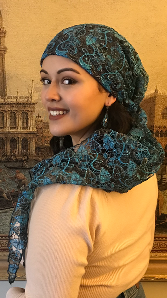 Lace Scarf Hat Stunning Dressy Tie Back Pre Tied Tichel Hijab With Soft Lining - Uptown Girl Headwear