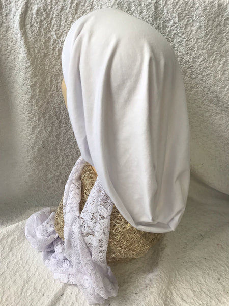 White Cotton or Black Lycra and Lace Turban Snood Hijab Tichel for Jewish Muslim and Christian Women - Uptown Girl Headwear