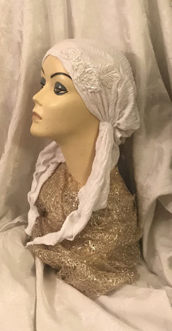 White Headcover Pre-Tied Elasticized Fitted Head Scarf - Uptown Girl Headwear