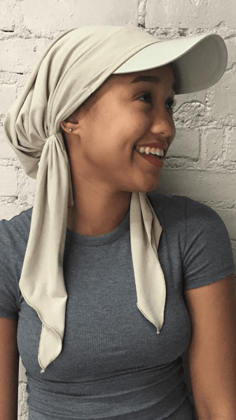 Beige Visor Scarf Hijab Tichel For The Beach Sun Protection and Exercise - Uptown Girl Headwear