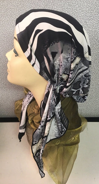 Animal Print Black & Grey Soft Spandex Pre-Tied Head Scarf - Uptown Girl Headwear