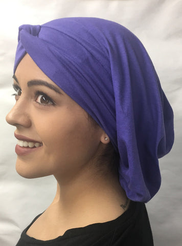 Black Friday Deal. Purple Long Renaissance Style Classic Snood Hijab Tichel (Below shoulders) - Uptown Girl Headwear