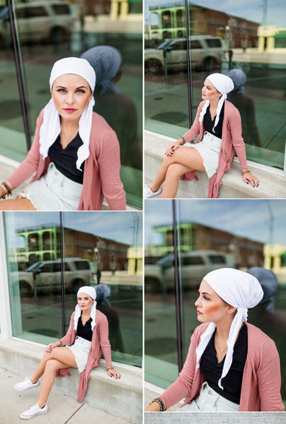 White Cotton Pre-Tied Head Wrap Scarf Tichel Hijab For Women With or Without Hair - Uptown Girl Headwear