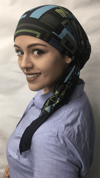 Colorful Pre Tied Easy On No Fuss Head Scarf Tichel Hijab For Jewish Muslim Christian African Women - Uptown Girl Headwear