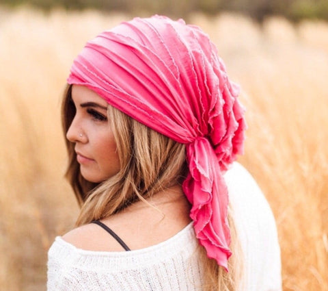 Lightweight Hair Net Ruffle Pre-Tied Head Wrap Scarf To Chill Relax Rest and Wind Down. Made in USA - Uptown Girl Headwear
