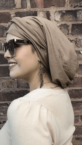 To Cover & Conceal Hair Suede Look Wrap Around Snood Head Scarf. Modern Hijab Tichel. Made in USA - Uptown Girl Headwear