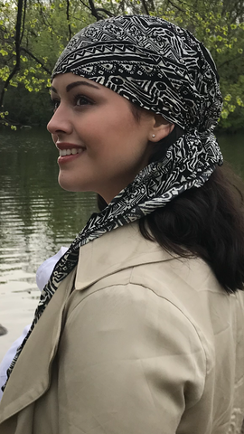 Black Pre-Tied Hijab Style Hair Wrap Slip On Head Scarf
