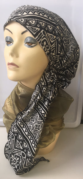 Aztec Pattern Black Pre-Tied Hijab Style Hair Wrap Slip On Head Scarf - Uptown Girl Headwear