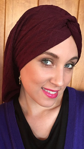 Overstock Sale Burgundy Textured Modern Hijab Hair Snood Turban Tichel - Uptown Girl Headwear
