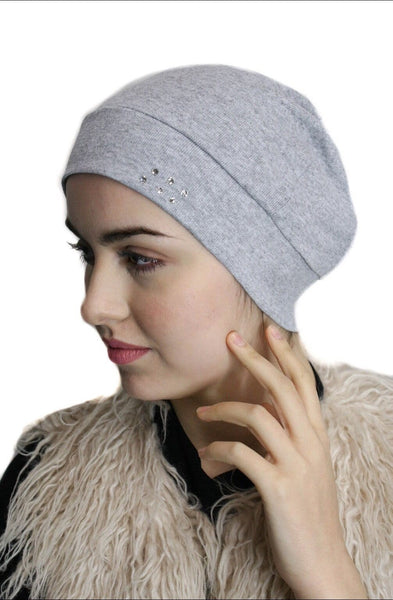 Cotton Chemo Sleep Cap Undercover Scarf Liner With Authentic Swarovski Crystals - Uptown Girl Headwear