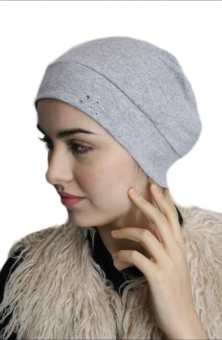 Head Warmer Cap To Conceal Hair Cotton Undercover Head Warmer With Authentic Swarovski Crystals - Uptown Girl Headwear