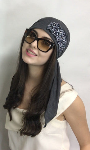 Stunning Pre Tied Modern Hijab Head Scarf with Applique (Black or Grey Scarf) - Uptown Girl Headwear