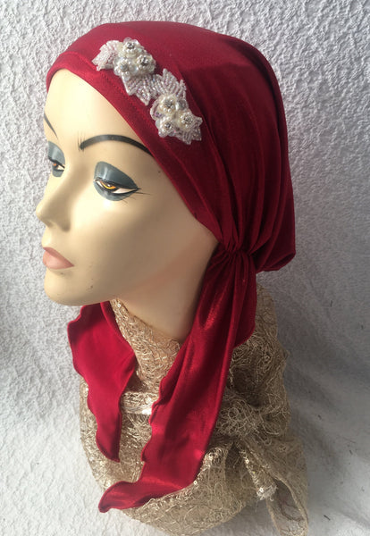 A Casual Dressy Gift Red Head Scarf Wrap Dressy with Shimmer Shine - Uptown Girl Headwear
