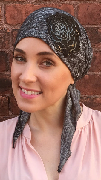 Lightweight Pre-Tied Head Scarf With Chic Leather-Like Flower - Uptown Girl Headwear