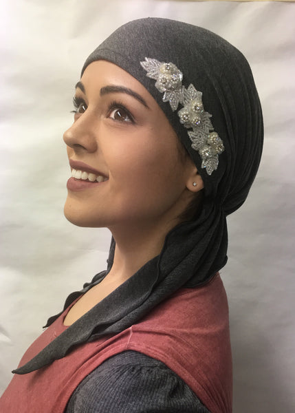 Diamond Pearl Applique Black Cotton Pre-Tied Head Scarf - Uptown Girl Headwear