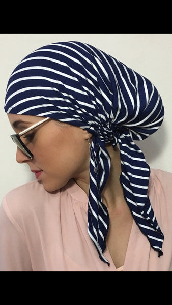Black Friday Special. Cool Sailor Nautical Navy White Modern Hijab Jersey Knit Head Scarf - Uptown Girl Headwear