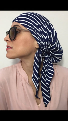 For Healthy Living Sport Cool Sailor Nautical Navy White Durag Modern Hijab Jersey Knit Head Scarf Wrap - Uptown Girl Headwear