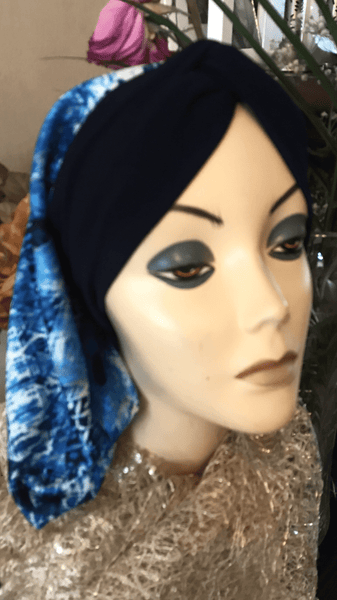Snood Turban Hijab Blue Colorful Design To Cover & Conceal Hair. Made in USA - Uptown Girl Headwear