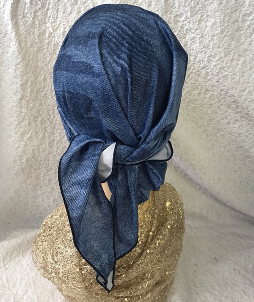 Blue Denim Head Wrap Tichel Hair Scarf For Natural Hair For Women. Has Non slip inserted band - Uptown Girl Headwear