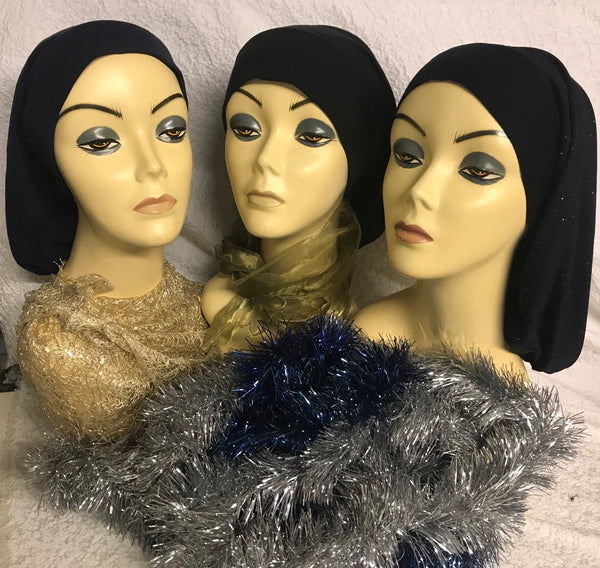 Bundle of 3 Classic Flat Front Hijab Turbans Scarves. Slightly irregular. - Uptown Girl Headwear