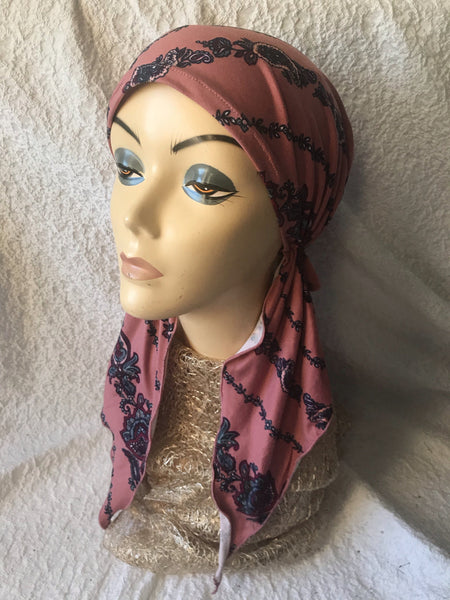 Pink Pattern Pre Tied Soft & Stretchy Headscarf - Uptown Girl Headwear