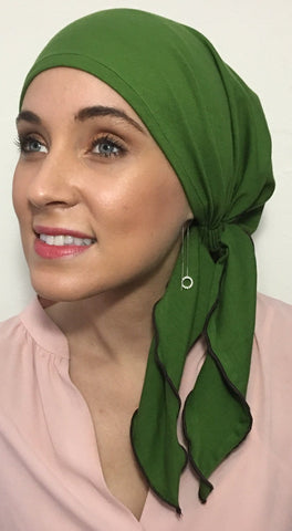 AUTUMN BEAUTY BREATHABLE Green Cotton Pre Tied Fitted HeadScarf - Uptown Girl Headwear