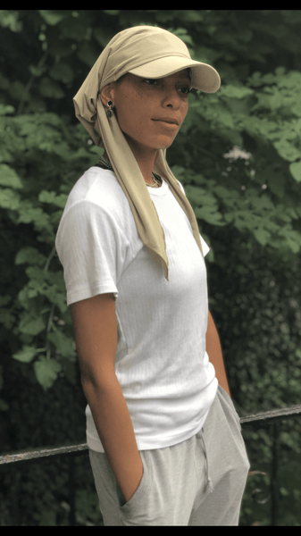 Visor Hat Face Shield Tan Scarf Hijab For The Beach Sun Protection and Exercise - Uptown Girl Headwear