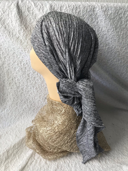 Tie Back Hat To Conceal Hair Stunning Grey Pleated Pre Tied Head Covering Head Wrap Scarf. - Uptown Girl Headwear