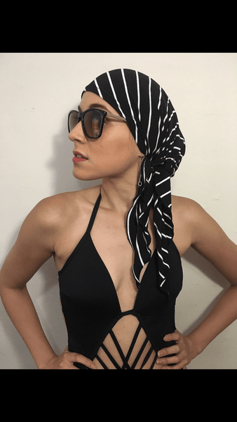 Cool Sailor Nautical Navy White Modern Hijab Jersey Knit Head Scarf - Uptown Girl Headwear