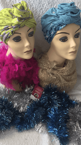 Cotton Pre Tied Scarf Bundle Gift Set Of Two Bright and Happy Hair Wraps Hijabs Tichels For Women With Alopecia and With Dreadlocks Lots of Hair - Uptown Girl Headwear