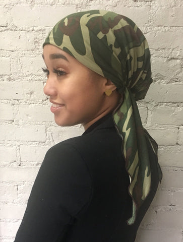 Uptown Girl Headwear New Slip On Style Military Camouflage Pre Tied Headscarf Hairwrap Hijab Headcover for men and Women - Uptown Girl Headwear
