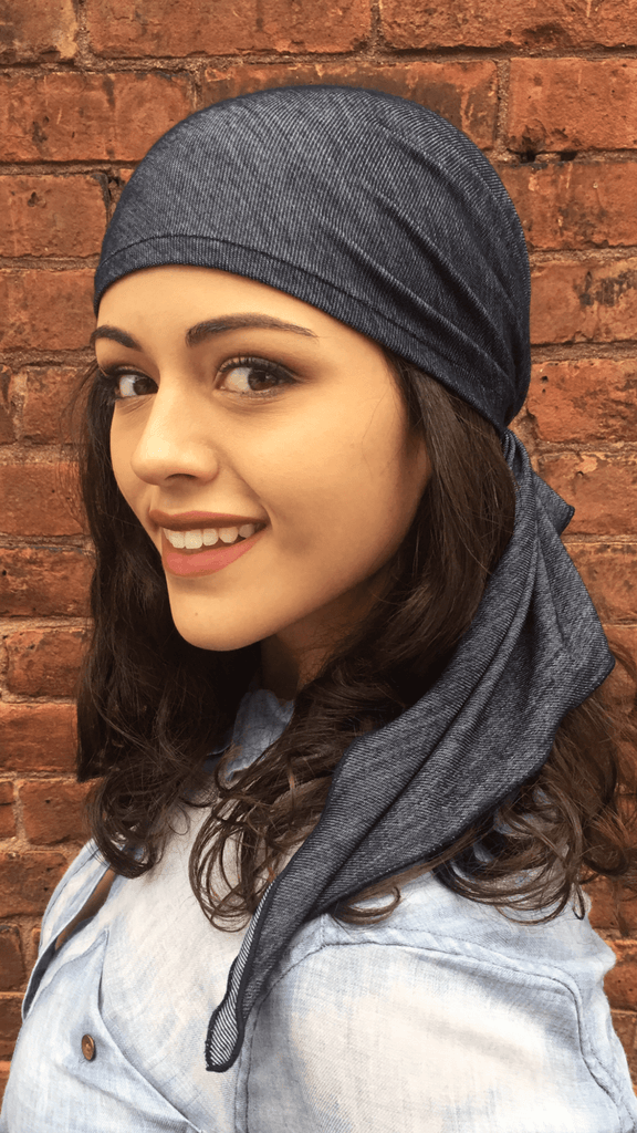Soft Blue Denim Novelty Pre Tied Head Wrap Tichel Hijab - Uptown Girl Headwear