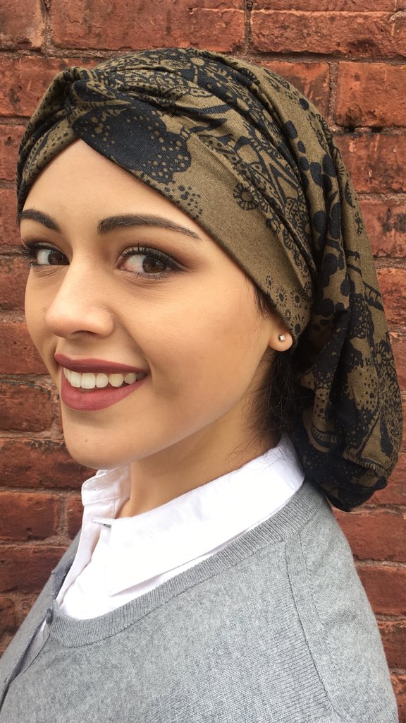 Jersey Knit Tree Bark Hijab Turban Snood - Uptown Girl Headwear