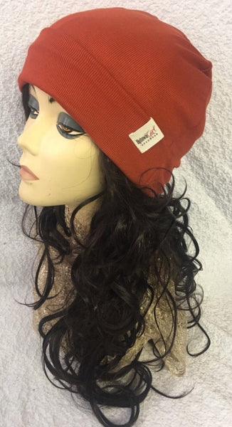 New Uptown Girl Headwear Premium Signature Beanie Soft Hat In Burnt Orange. Made in New York - Uptown Girl Headwear