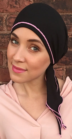 Black Cotton Athletic Hair Wrap With Pink Piping Finish - Uptown Girl Headwear