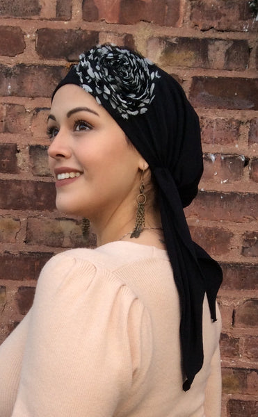 Black Tie Back Hat Lycra Dressy Pre-Tied Scarf - Uptown Girl Headwear