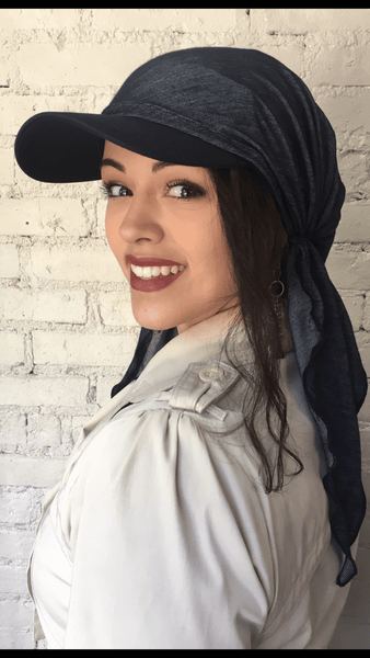 Lightweight Blue or Black Denim Sun Visor Scarf Hijab Head Covering - Uptown Girl Headwear