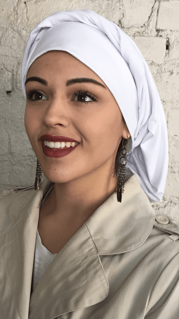 Gift Set Bundle of 2 White Classic Hair Snoods Hijabs Turbans For Women - Uptown Girl Headwear