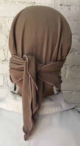 Tan Lycra Lightweight Hair Wrap Head Scarf Hijab