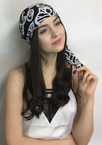 Tuxedo Kiss Black & White Pre-Tied Head Scarf - Uptown Girl Headwear
