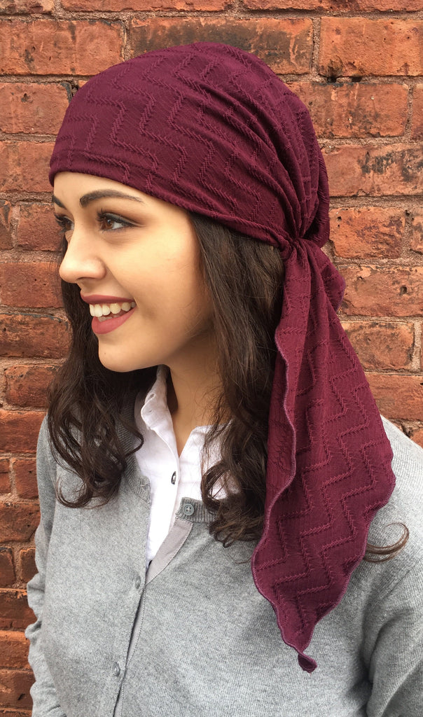 Uptown Girl Headwear Classic Maroon Textured Pre-Tied Head Scarf - Uptown Girl Headwear