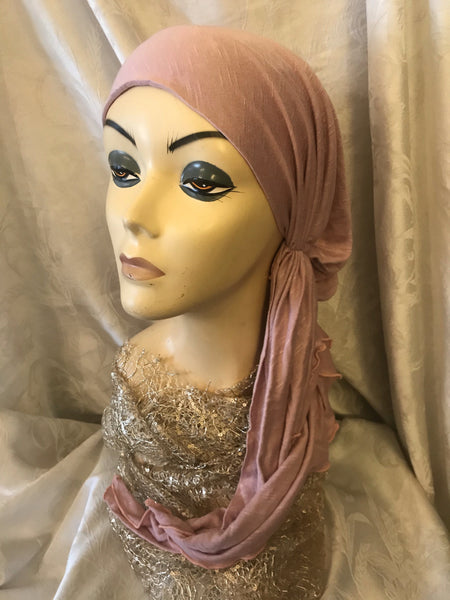Pink Head Covering Pre Tied Head Scarf For Women With Long Short or No Hair. - Uptown Girl Headwear