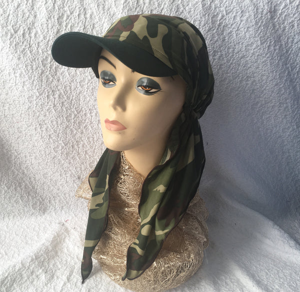 Sun Visor Head Wrap Hair Scarf Camouflage Army Military Style Fashion For Women - Uptown Girl Headwear