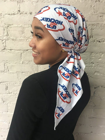 American Sport Style Hockey Durag Pre Tied Headscarf Hairwrap Head Cover - Uptown Girl Headwear
