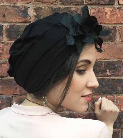 Black cotton slouchy hat adorned with feather weight black leaves. CHIC and BREATHABLE Chemo hat. - Uptown Girl Headwear