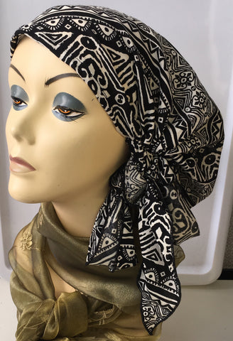 Black and White Pre-Tied Hijab Style Hair Wrap Slip On Head Scarf - Uptown Girl Headwear
